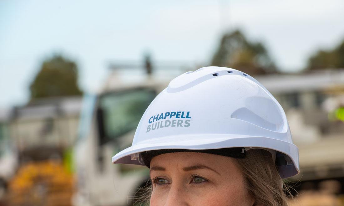Female employee in Chappell Builders hard hat